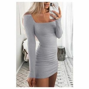 Long-sleeved slim sexy mini dress